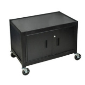 Mobile Lockable Steel Storage Cabinet 70cm H With Ball Bearing Casters - Black