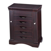 HomePointe Wooden Velvet-Lined 5-Drawer Jewellery Box with 2 Swing-Out Chain Compartments and Lift Top Mirror