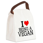 CafePress Canvas Lunch Bag - I Love Being A Vegan Canvas Lunch Bag - Khaki