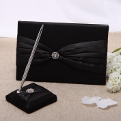 KateMelon Wedding Accessories Satin Sash Guest Book and Pen Set, Black
