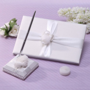 KateMelon Tied with Rose Guestbook and Pen Set in Ivory