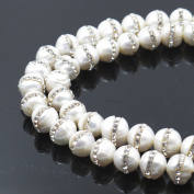 BRCbeads Gorgeous Natural Fresh Water Pearl Gemstone Round With Rhinestone Loose Beads 10mm Approxi 15 inch 35pcs 1 Strand per Bag for Jewellery Making