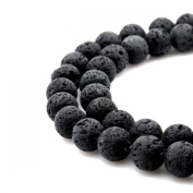 BRCbeads Gorgeous Natural Black Lava Stone Gemstone Round Loose Beads 8mm Approxi 15.5 inch 45pcs 1 Strand per Bag for Jewellery Making