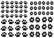 Paw Prints 1.3cm - 1.9cm - Black 15CC447 Fused Glass Decals
