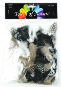 Touch of Nature Dyed Guinea Feathers for Arts and Crafts, 7gm, Black/White Mix