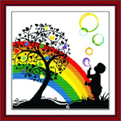 Benway Counted Cross Stitch Kit Boy Playing With Colourful Bubbles Under The Heart Tree 14 Count 42cm X 41cm