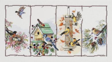"Janlynn Ready, Set...Stitch ""4 Seasons Birds"" Counted Cross Stitch Kit"