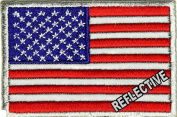 REFLECTIVE US AMERICAN FLAG Patch Embroidered Tactical Morale Police Vest Jacket Emblem