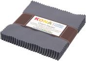 Kona Cotton COAL Charm Pack 13cm x 42 Squares Quilting Fabric Robert Kaufman CHS-204-42