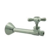 Westbrass D1114X-07 Straight Stop - 1.3cm . Copper Sweat x 1cm . OD Comp. - Satin Nickel