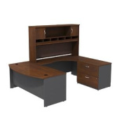 Bush Business Furniture SRC005HCRSU Series C 72W Right Handed Bow Front U Shaped Desk with Hutch and Storage, Hansen Cherry