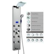 Blue Ocean 130cm Aluminium SPA392M Shower Panel Tower with Rainfall Shower Head, 8 Multi-functional Nozzles