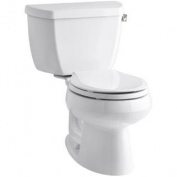 Kohler K-3577-TR-0 Wellworth Classic 1.28gpf Round-Front Toilet with Class Five Flushing Technology and Right-Hand Trip