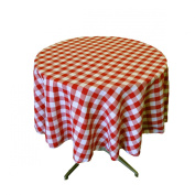 LA Linen Poly Chequered Round Tablecloth, 130cm , Red/White