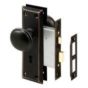 Prime-Line Products E 2495 Mortise Lock Set, Keyed, Classic Bronze Knob