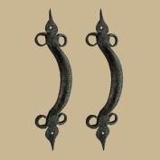 2 Door Pulls Spear Black Wrought Iron 27cm | Renovator's Supply