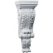 10cm - 1.9cm . x 5.1cm - 1.9cm . x 30cm - 0.6cm . Primed Polyurethane Legacy Acanthus Corbel
