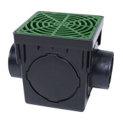 Storm Drain FSD-090-K 23cm Square Catch Basin Kit with Green Grate