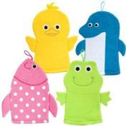 Terry Cloth Bath Puppet / Wash Cloth / Bathmitt / Bath Mitt / Green (Frog)