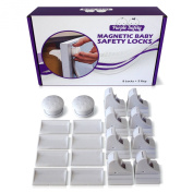 Magnetic Baby Safety Locks for Cabinets & Drawers - Baby Proof & Easy Instal - No Screws or Drilling - 8+2 Set
