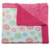 Pink Flower Printed Minky Dot Baby Blanket