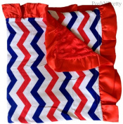 Soft and Cosy Large Minky blanket - Patriotic Chevron