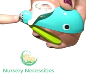 """NAIL WHALE - #1 BEST Baby & Child Nail Clippers - """"Eats"""" Clippings - Magnifier & Finger Safety Stabiliser - By Nursery Necessities"""