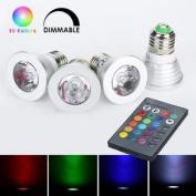 Weanas® 4x E27 RGB Colour Changing LED Light Bulb Lamp with Remote Control 3 Watt AC 110V / 85V-265V 16 Multi Colour