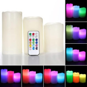 3 x Remote Control Colour Change LED Vanilla Flameless Wax Candles