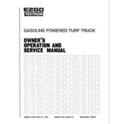 EZGO 23007G1 1986-1987 Owner Operator and Service Manual for Gas GXT300/800 Turf Truck