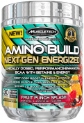 MuscleTech Amino Build Next Gen Energised, Advanced BCAA Powder w/ Energy, Fruit Punch, 290ml
