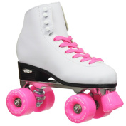 Epic Classic Women's High-Top Quad Roller Skates with Pink Wheels