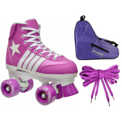 Epic 3-piece Purple Star Quad Roller Skate Bundle