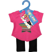 Springfield Collection Star Top & Leggings-Pink Top With Star And Black Leggings