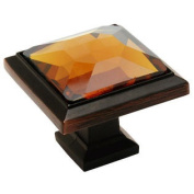 Cosmas 5883ORB-A Oil Rubbed Bronze Cabinet Hardware Square Knob with Amber Glass - 2.5cm - 0.6cm Square