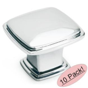 Cosmas 4391CH Polished Chrome Cabinet Hardware Knob - 3.2cm Square - 10 PACK