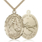 Gold Filled St. Joseph of Cupertino Medal Necklace For Men - Pendant Size:1 7/8 x 1 1/4 - Curb Chain 60cm - 30 Day Money Back Gu
