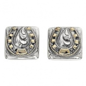 Western Cufflinks Mens Square Horseshoes Silver Gold 028-274