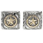 Western Cufflinks Mens Square Star Disc Silver Gold 028-327