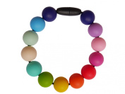 Rainbow Silicone Teething Bracelet Wristlet Breastfeeding Baby Nursing Beads BPA Free, Hand-Made by MilkMama