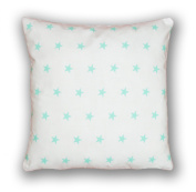 Decorative Cushion Cover 40 x 40 cm Stars Turquoise on White