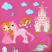 Princess, Castle, Unicorn, Clouds wall sticker Nursery wall decal Childrens Wall Stickers, Multi-Colour Art 204