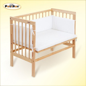 FabiMax bedside cot BASIC untreated, mattress CLASSIC and bumper Amelie white