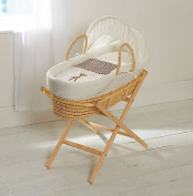 Baby Moses Basket And Natural Folding Stand Giraffe Gingham Palm