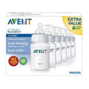 6 x Philips AVENT 260ml 9oz Anti-Colic Baby Feeding Bottle CLASSIC+ Range 0 Months+. Anti-colic System And BPA Free