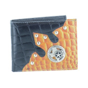 LL Fashion Men's Leather Bifold Wallet with Star Metal Emblem