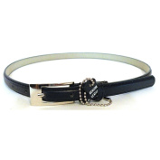 Women's Navy Blue Leather Skinny Belt