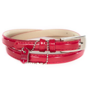 Women's Burgundy Patent Leather Skinny Belt