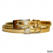 Women's Metallic Leather Skinny Belt