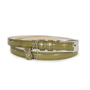 Women's Olive Patent Leather Skinny Belt